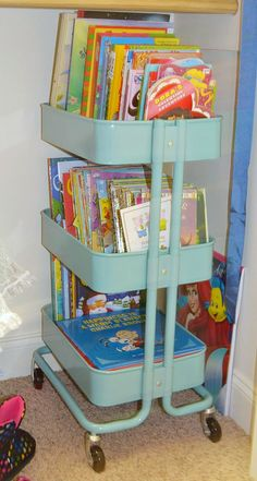 Ikea raskog cart books - Do this once bub doesn't need the nappy change station anymore.