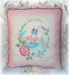 Embroidered Pillow Southern Belle Bonnet Lady by Kittyandme, $49.00