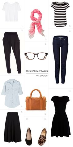 A great starter capsule wardrobe // Pen and Peplum blog. I would wear all this, though I'm not big on the loafers... maybe chucks or birks instead.