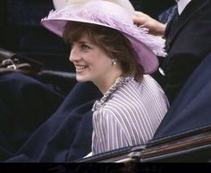 Lady Diana Spencer on Day 1 of Royal Ascot, June 16, 1981. This was her first Royal Ascot, and she wore a three-piece suit in lilac, with white and pale yellow stripes by designer David Neil, worn with a large brimmed matching coloured hat trimmed with a lilac coloured feathers, by milliner John Boyd.