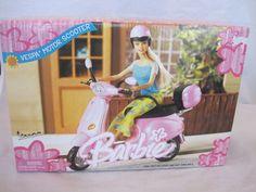 Barbie 2002 Vespa Motor Scooter NIB Mattel New In Package and windsurfing barbie. Vespa Motor Scooters, Scooter Motorcycle, Vintage Barbie Dolls, Artsy, Camping, Creative, Car, House, Ideas