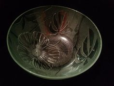 """Floral design round clear glass Salad Fruit serving Bowl 4"""" tall 10' diameter"""