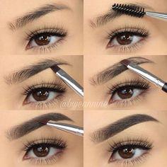How To Fill Your Eyebrows With Pencil / Eyeliner / Li .- So füllen Sie Ihre Augenbrauen mit Bleistift / Eyeliner / Lidschatten / Puder – Samantha Fashion Life How to fill your eyebrows with pencil / eyeliner / eye shadow / powder makeup artist ^^ Eyebrow Makeup Tips, Eyebrow Tinting, Pencil Eyeliner, Lip Makeup, Makeup Brushes, Makeup Eyebrows, Eye Brows, How To Do Eyebrows, Filling In Eyebrows