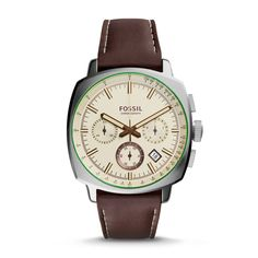 Fossil Haywood Chronograph Leather Watch – Dark Brown