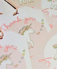 Personalized Unicorn Thank You Tags Favor Tags Unicorn Party