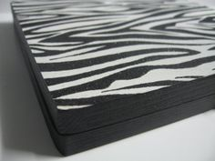 Black and White Zebra Print Black Glitter magnetic freedom makeup palette by BitterLaceBeauty to hold eye shadow, blush, powder and lip pans!