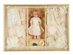 56e12e9e759 Lot: French Presentation Box with Miniature Bisque Doll and Trousseau