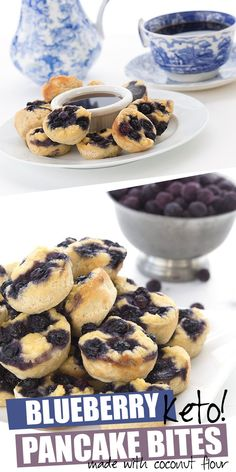 Keto Pancake Bites! Fun low carb mini pancakes baked in a muffin tin. Add blueberries or chocolate chips! Sugar free, grain-free, and nut-free too. Made with coconut flour! #ketodiet #pancakes #ketorecipes #easyketo #ketobreakfastrecipes #lowcarb #grainfree