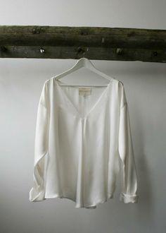 Stella+Alf, made in Britain, british, womenswear, fashion, natural, sustainable, white, sand washed, silk, blouse