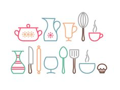 Dribbble - Kitchen icons by Ruslan Retro Design, Icon Design, Kitchen Icon, Kitchen Modern, Room Kitchen, Line Design, Web Design, Sweet Logo, Baking Logo