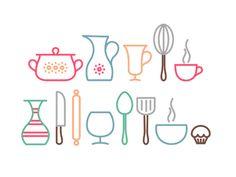 Dribbble - Kitchen icons by Ruslan Kitchen Icon, Kitchen Logo, Kitchen Modern, Room Kitchen, Retro Design, Icon Design, Line Design, Web Design, Sweet Logo