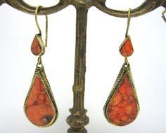 FREE SHIP Afghan Kuchi Tribe Orange Jasper Drop Shape Earrings by CraftEast, $30.00