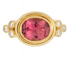 Temple St. Clair - pink tourmaline ring with diamond granulation