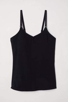 Nursing top in soft organic cotton jersey. Soft integral top with convenient fasteners for easier nursing access. Narrow adjustable shoulder straps padded inserts and elasticized hem. Camisole With Shelf Bra, Sleeveless Tunic Tops, Nursing Tank, Black Women, Basic Tank Top, Organic Cotton, Maternity, Tank Tops, Clothes