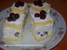 Receptek, és hasznos cikkek oldala: Meggyes-citromos kocka Hungarian Cake, Hungarian Recipes, Cake Bars, No Bake Desserts, My Recipes, Cheesecake, Muffin, Food And Drink, Pudding