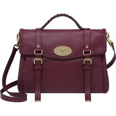 Oversized Alexa with Woven Trim Berry Small Grain Calf Nappa ($1,850) ❤ liked on Polyvore