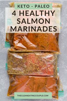 These Healthy Salmon Marinades are the perfect easy, delicious recipe! Made with minimal ingredients, paleo, keto and – they're great for meal prep! Whether you make them on the grill or baked Grilled Salmon Marinade, Salmon Marinate Recipe, Grilled Salmon Recipes, Spicy Salmon, Healthy Salmon Recipes, Seafood Recipes, Salmon Meals, Meal Prep Salmon, Sous Vide Salmon Recipes