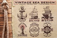 Set of Vintage Sea emblems with sea ship, anchor, light house and other. Includes: - 6 emblems (versions for white and dark backgrounds).