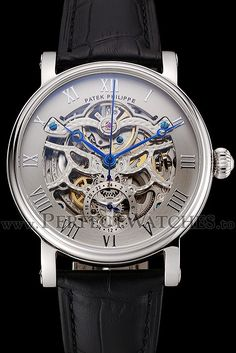 Replica Patek Philippe Grand Complications Gray Skeleton Dial Stainless Steel Case Black Leather Strap 1453811