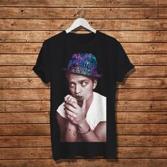 Bruno Mars with Song Hat Galaxy Typography Design Shirt by Ukengsi, $17.97