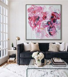 CZ Art Design - Hand painted Large floral Oil Painting on canvas, abstract flower art. Blue, pink, etc. @CelineZiangArt