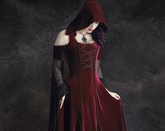 Imaginaerum Hooded Dress  - Red Riding Hood Dress, Fairy Tale Wedding Dress, Romantic Gothic Dress, Elven Dress in Velvet and Mesh / Lacing