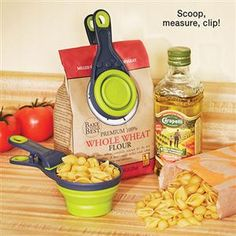 COLLAPSIBLE KLIP SCOOP -- two tools in one. Handling and sealing bagged foods shouldn't be such a chore, and the Collapsible Klip Scoop makes sure that it isn't. This handy kitchen tool triples as a measuring cup, food scoop, and bag clip when flattened. Its easy-grip handle can be hung from any hook, making the Klip Scoop an ideal kitchen appliance.