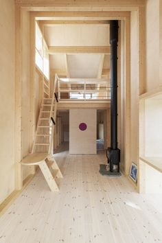 Photo 8 of 17 in A Stepped Roof Primes This Cozy Norwegian Cabin for Next-Level Fun - Dwell Wooden Hut, Wooden Cabins, Wooden Houses, Log Cabins, Contemporary Cabin, Staircase Handrail, Light Hardwood Floors, Ski Jumping, Timber Cladding