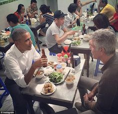The two men ate bun cha, a pork and noodle dish. Bourdain quizzed Obama on a vareity of topics, including the ethics of ketchup, foreign policy and the world's future
