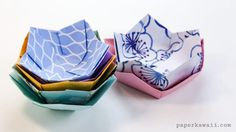Origami Flower Bowl Tutorial - Paper Kawaii - *****If you use an square, this yields a perfect cupcake wrapper. Origami Flower Bowl Tutorial – cute for place settings or party favors - Origami And Kirigami, Fabric Origami, Paper Crafts Origami, Diy Paper, Origami Ideas, Easy Origami For Kids, Paper Folding Crafts, Cool Paper Crafts, Origami Templates