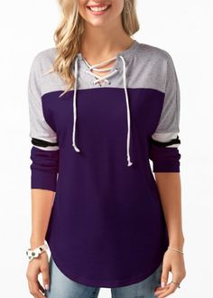Lace Up Front Curved Hem Purple T Shirt | Rosewe.com - USD $27.70