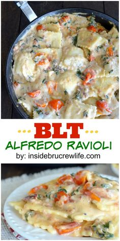 Alfredo, ravioli, and BLT flavors make this 30 minute skillet dinner a winner every time! One Pot Meals, Main Meals, Work Meals, Italian Dishes, Italian Recipes, Italian Entrees, Pasta Dishes, Food Dishes, Main Dishes