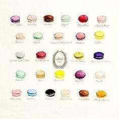 Macaron Flavors Laduree Menu Paris by RachaelMichelleArt on Etsy, $33.00