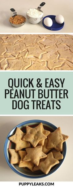 Looking for a simple dog treat recipe? Check out these quick & easy homemade peanut butter dog treats. You just need flour, peanut butter & a couple of eggs to make these easy dog treats. #dogtreats #diy #dogs #diydogstuff via @puppyleaks