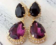 Purple amethyst black crystal earrings, Chandelier earring, Drop earring, Dangle earring, Bridal earring, Bridesmaids gifts, Gold or silver