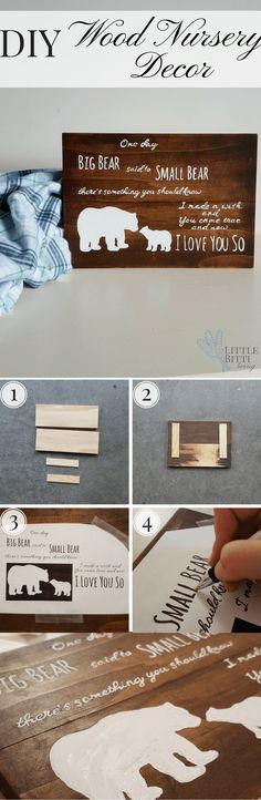DIY nursery decor. A simple, custom rustic wood si…