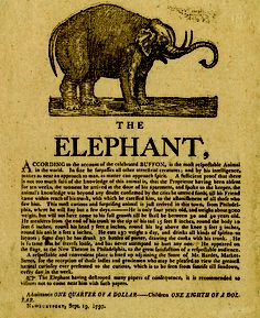 1797 broadside from Newburyport, Massachusetts, of the elephant, Old Bet. I have this print framed and hanging in a guest room. Elephant Art, African Elephant, Rainforest Habitat, Elephants Never Forget, Today In History, Reading Room, Animals Of The World, Historical Society, Vintage Advertisements