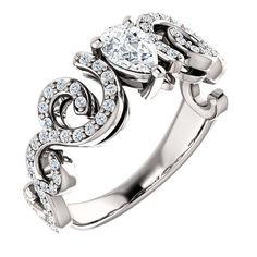 0.50 Ct Pear Diamond Engagement Ring 14k White Gold