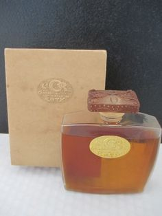 """Vintage COTY """"L'Or"""" Perfume Bottle in Box with Lalique Designed Stopper New 1916"""