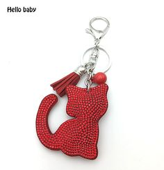 Leather & Rhinestone Cat keychain with Pendant   7 colors