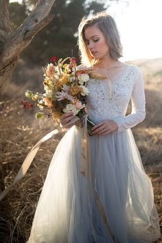 Tulle wedding gown / Orchidee in icy grey by MywonyBridal on Etsy