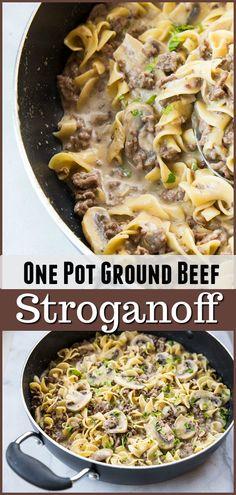 One Pot Rich & Creamy Ground Beef Stroganoff & Noodles