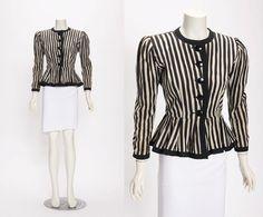 Yves Saint Laurent Stripe Jacket With Peplum vintage 1980s • Revival Vintage Boutique by RevivalVintageBoutiq on Etsy