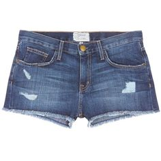 current/elliott 'The Boyfriend™' distressed rip frayed shorts ($175) ❤ liked on Polyvore featuring shorts, bottoms, pants, short, blue, ripped short shorts, low rise short shorts, frayed shorts, cuffed shorts and ripped shorts