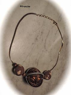 FRANCINE BRICOLE : Collier capsules terre de Sienne et perles FIMO