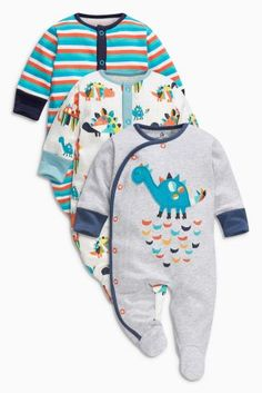 Buy Grey Dinosaur Sleepsuits Three Pack (0mths-2yrs) online today at Next  6f030c05bb