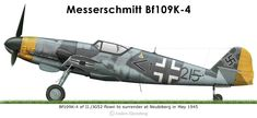 Bf 109K-4 at Neubiberg Black <1 + - was one of many Bf109's flown by pilots of II./JG52 to Neubiberg at the end of the war. It carries all the charachterisitc markings with the yellow nose and rudder used by Luftflotte 4 aircraft and the typical small markings of II./JG52.