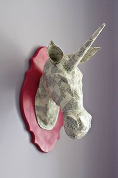 DIY paper mache animal heads tutorial - Love this unicorn via Lil Blue Boo.