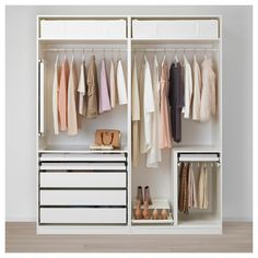 IKEA - PAX, Wardrobe, You can easily adapt this ready-made PAX/KOMPLEMENT combination to suit your needs and taste using the PAX planning tool. Sliding doors allow more room for furniture because they don't take any space to open. Bedroom Closet Design, Ikea Bedroom, Closet Designs, Bedroom Decor, Bedroom Ideas, Ikea Pax Wardrobe, Ikea Closet, Bedroom Wardrobe, Ikea White Wardrobe