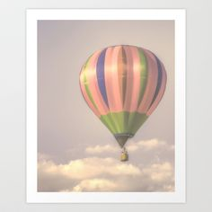 Away in my magical pink balloon Art Print by Wood-n-Images - $19.00 #childrens #nursery #infants